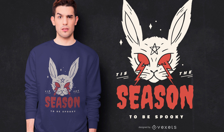 Dise?o de camiseta de conejo de miedo de halloween