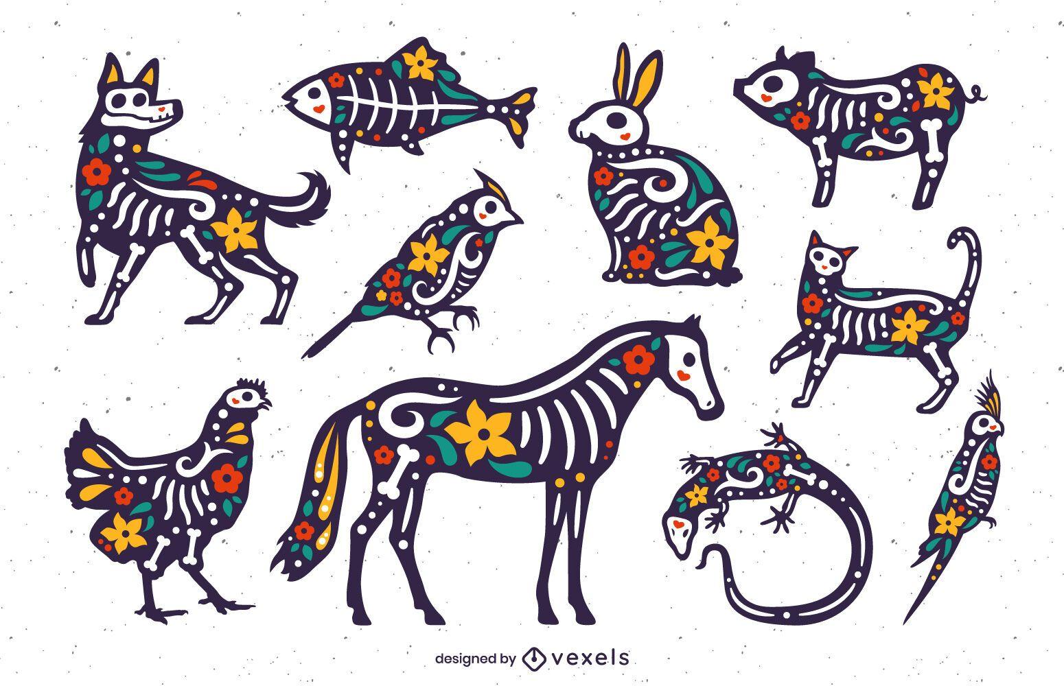 Set de animales del día de los muertos