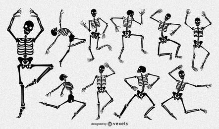 Pacote de desenho de pose de esqueleto engraçado