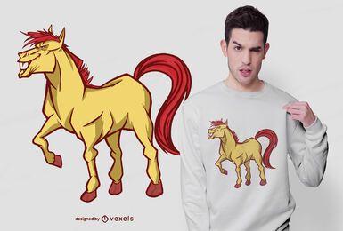 Diseño de camiseta de caballo sonriente