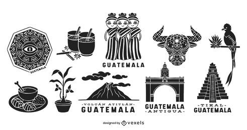 Guatemala elements silhouette set