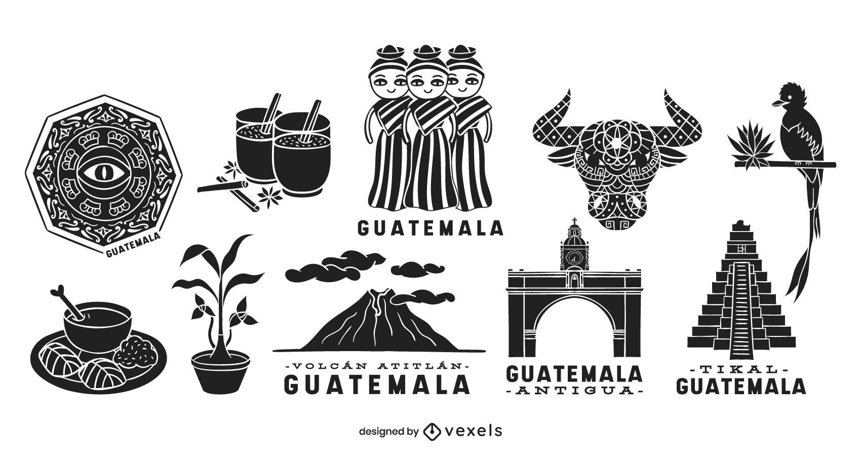 Conjunto de silueta de elementos de Guatemala