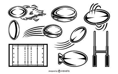 Conjunto de elementos de rugby