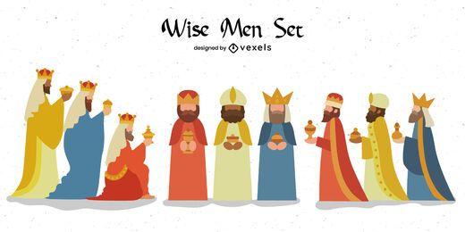 Conjunto plano de três Reis Magos