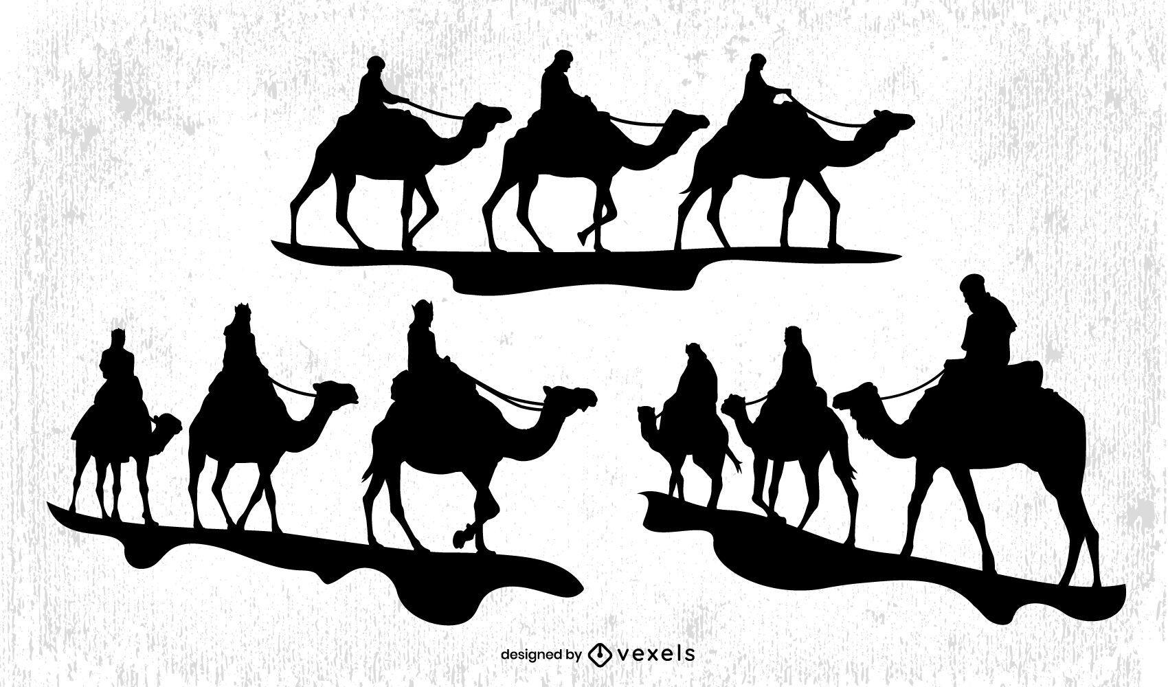 Conjunto de silueta de hombres sabios en camellos