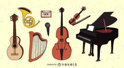 Mão desenhada instrumentos musicais
