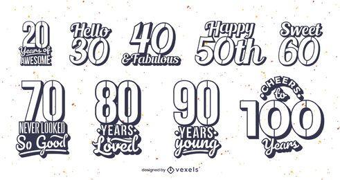 Coleção de emblemas de idade de aniversário