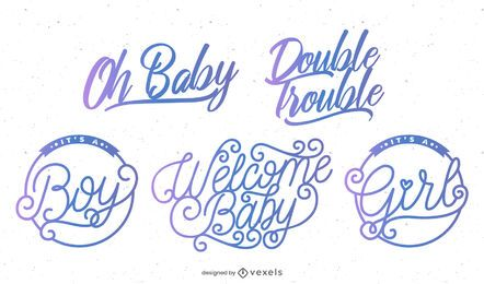 Conjunto de crachá de festa de bebê de boas-vindas