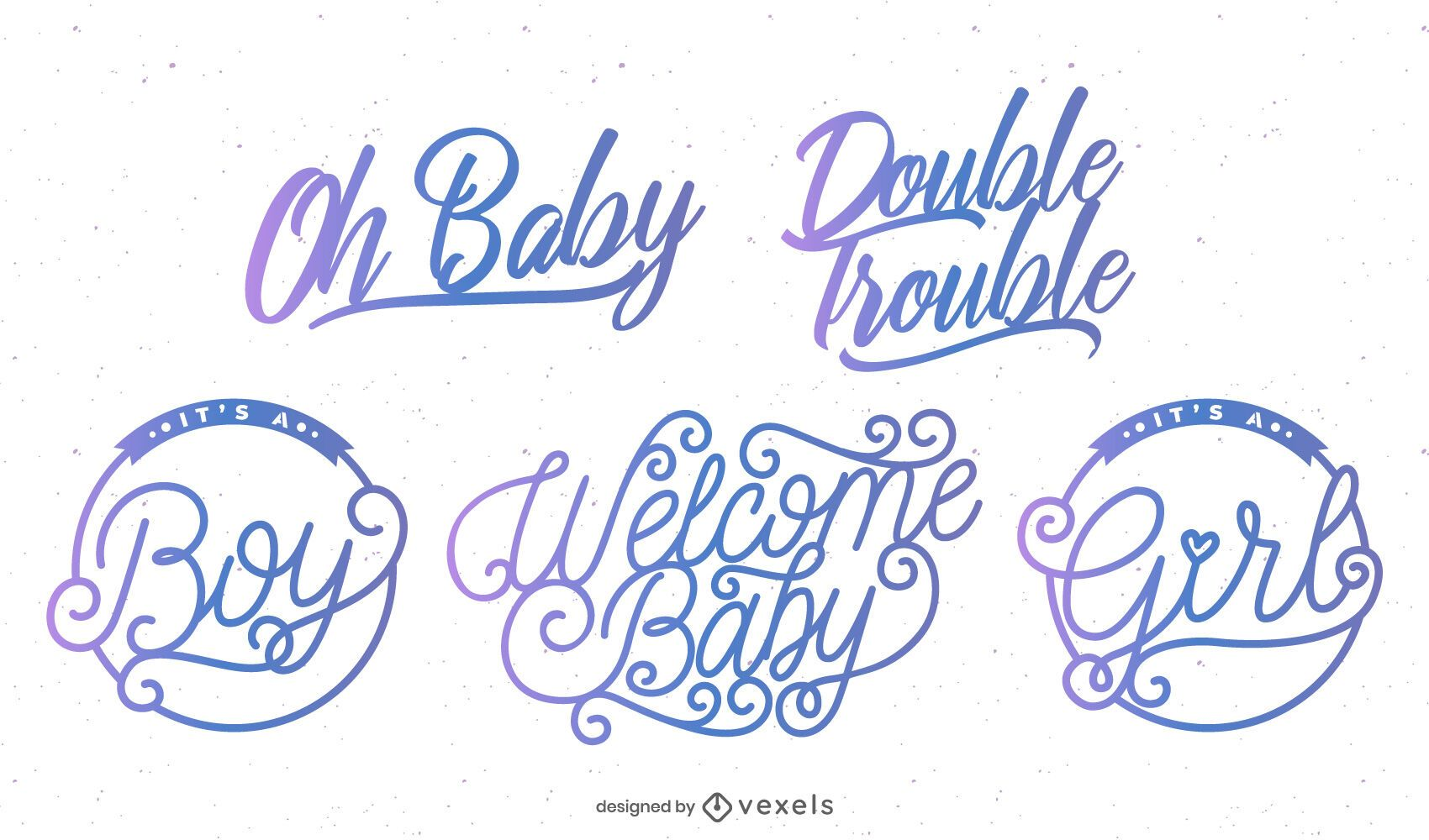 Welcome baby party badge set