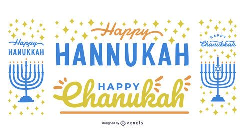 Happy hannukah vector set