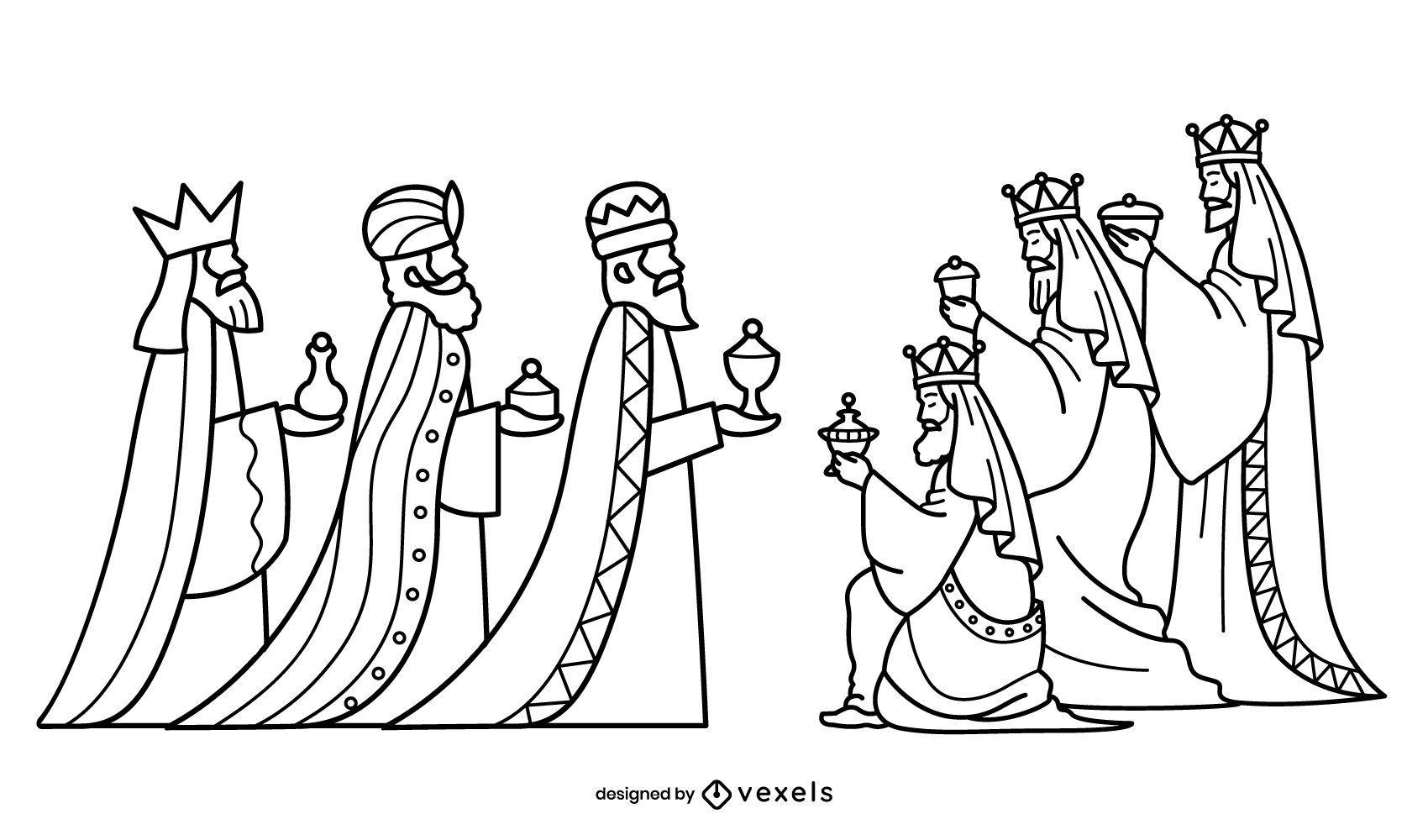 Conjunto de trazos de tres reyes magos