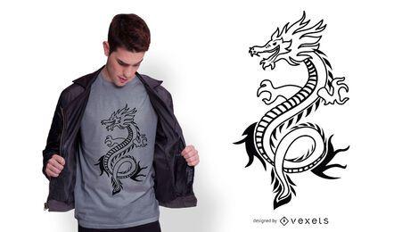 Diseño de camiseta de trazo de dragón