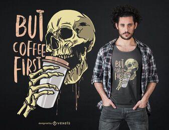 Diseño de camiseta de calavera de café