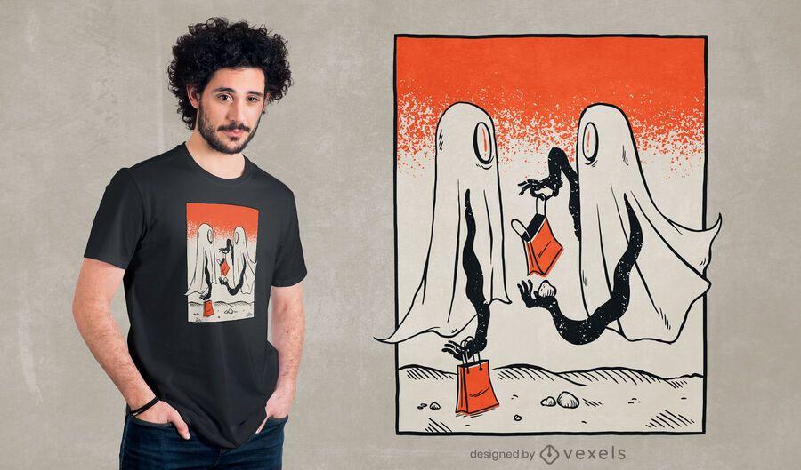 Design de camisetas fantasmas doçura ou travessura