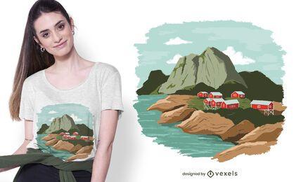 Diseño de camiseta de los fiordos de noruega