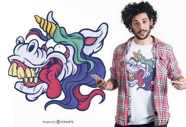 Design de camiseta com cara de bobo de unicórnio