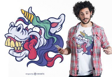 Unicorn silly face t-shirt design