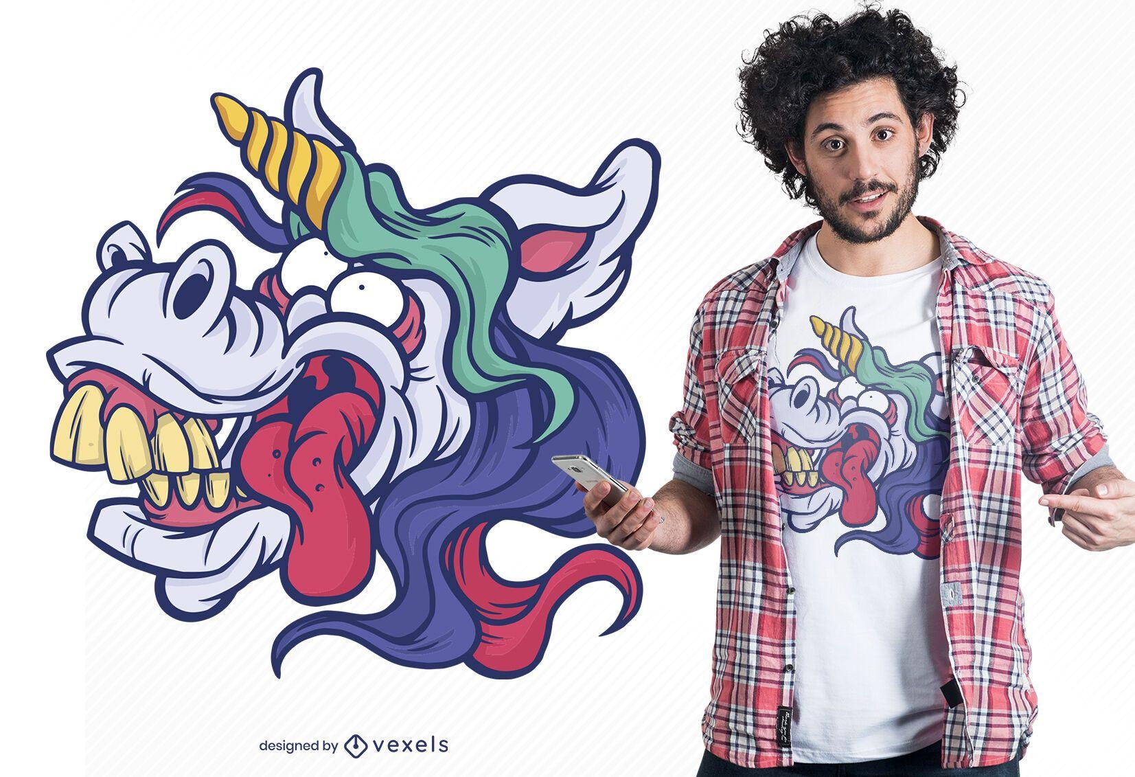 Diseño de camiseta unicornio cara tonta
