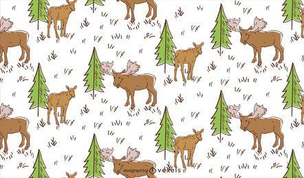 Desenho de padrão de alce do prado