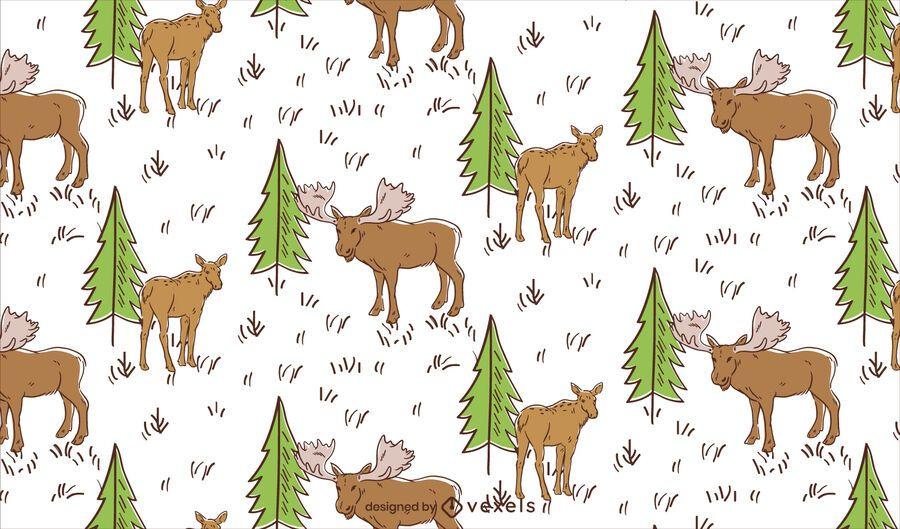 Meadow moose pattern design