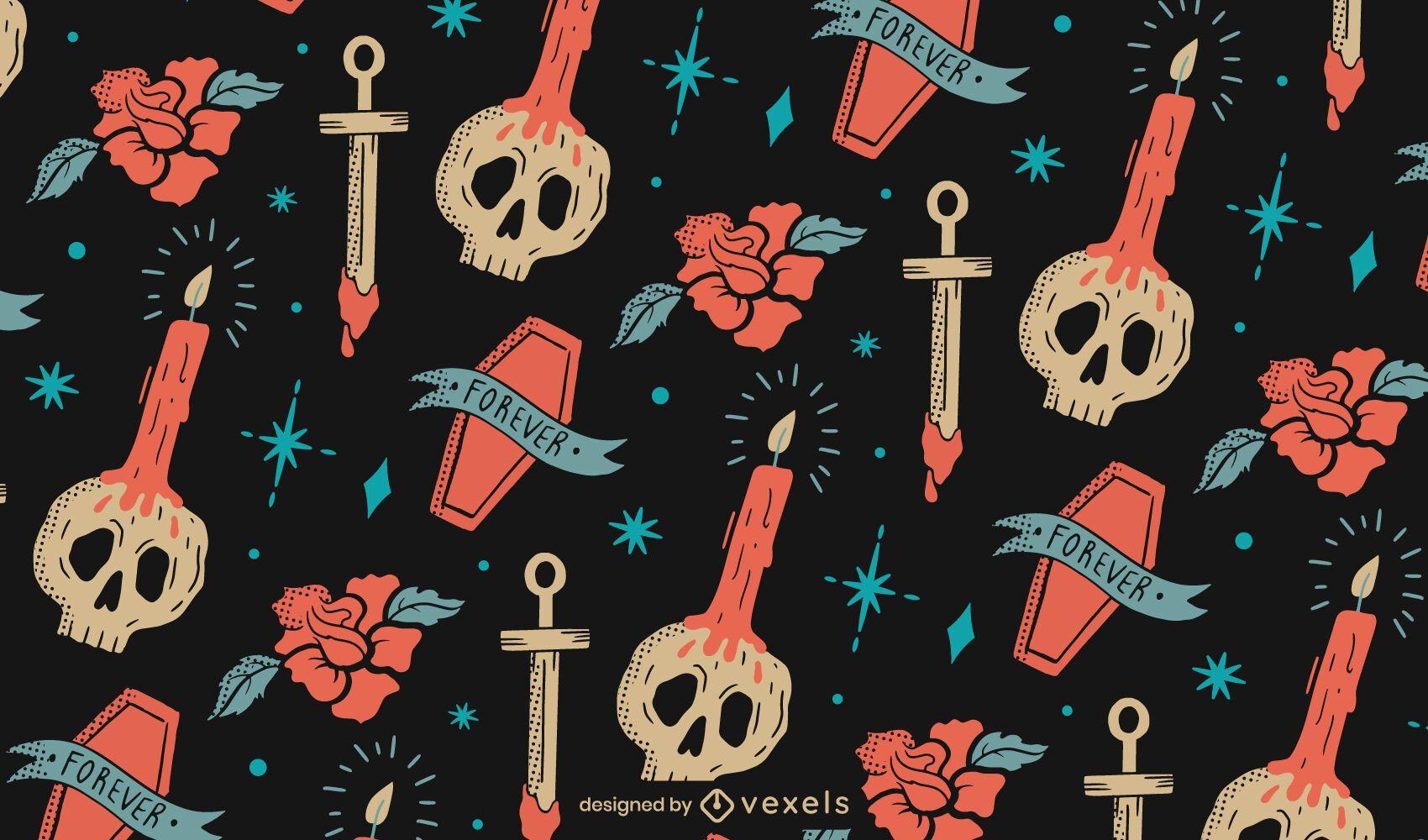 Diseño de patrón de elementos de muerte de Halloween