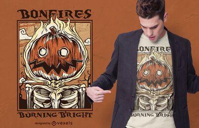 Design de t-shirt de halloween com abóbora fogueira
