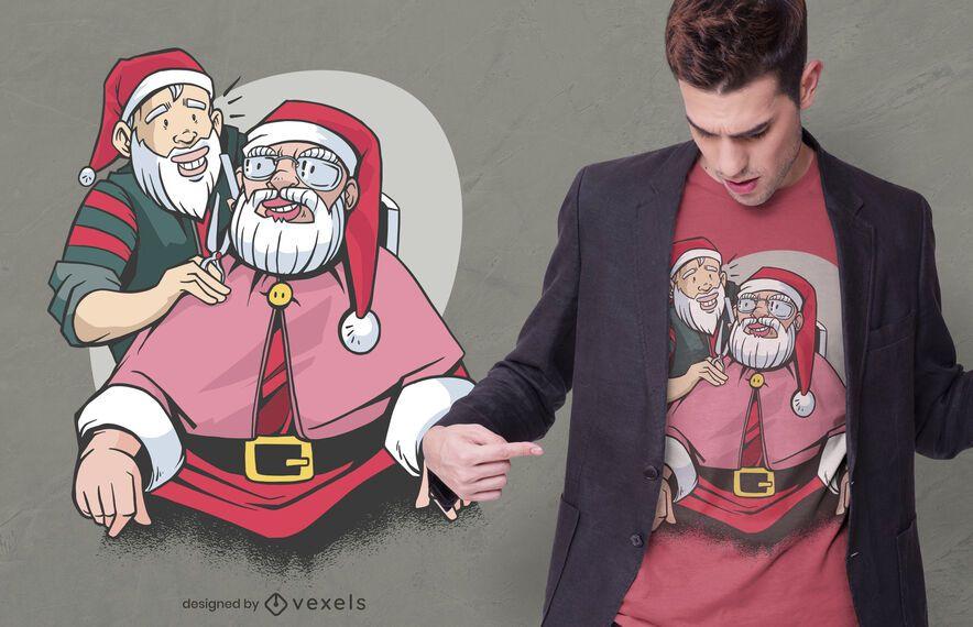 Design de camiseta de barbeiro do Papai Noel