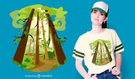Design de camisetas da natureza da floresta tropical