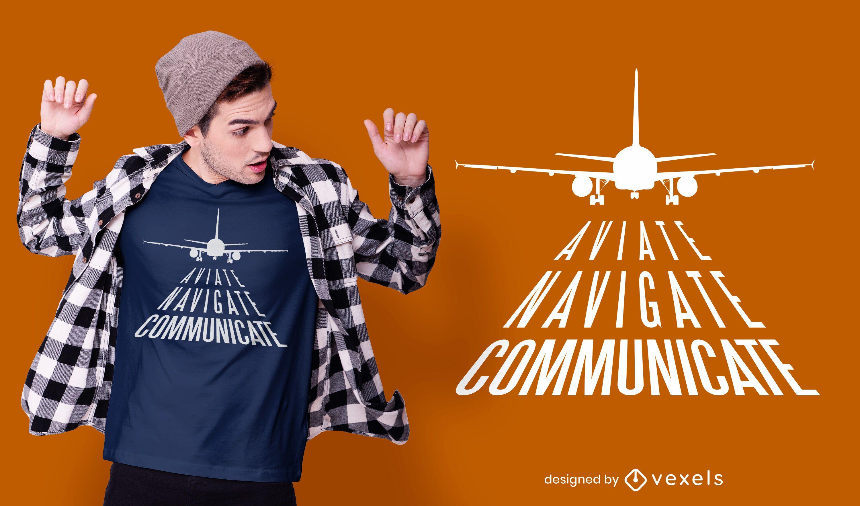 Design de camiseta de citação de aviação
