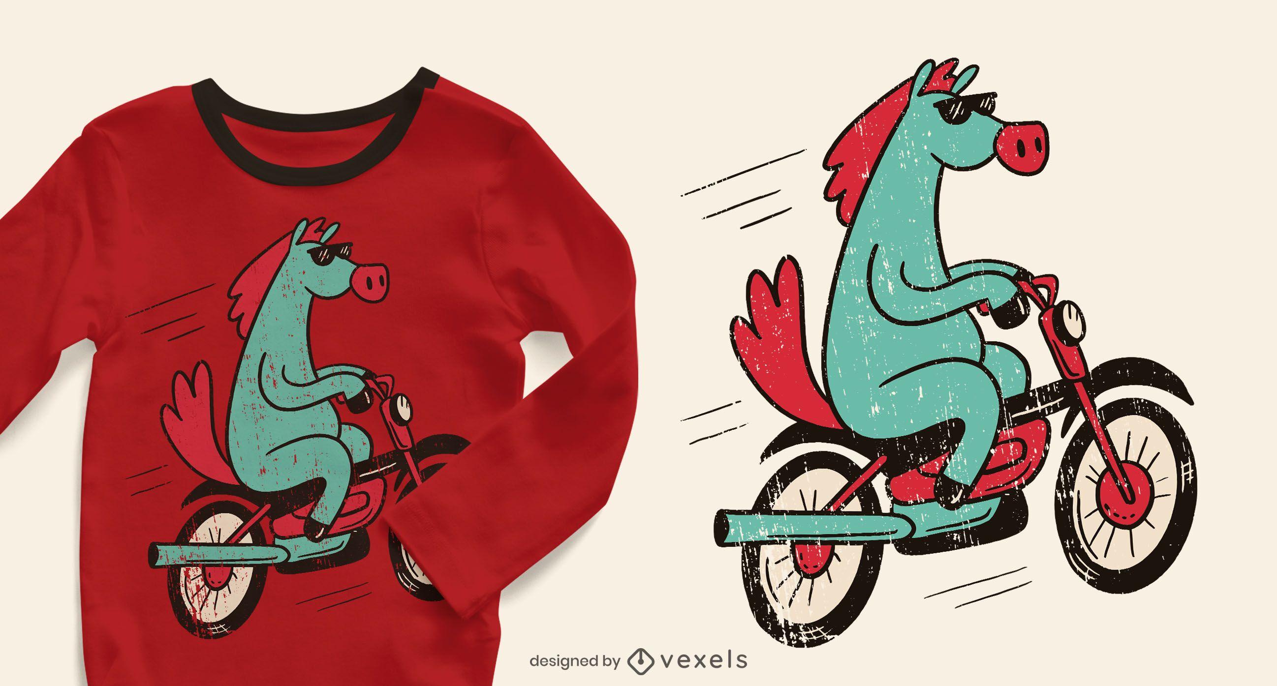 Horse bicycle t-shirt design