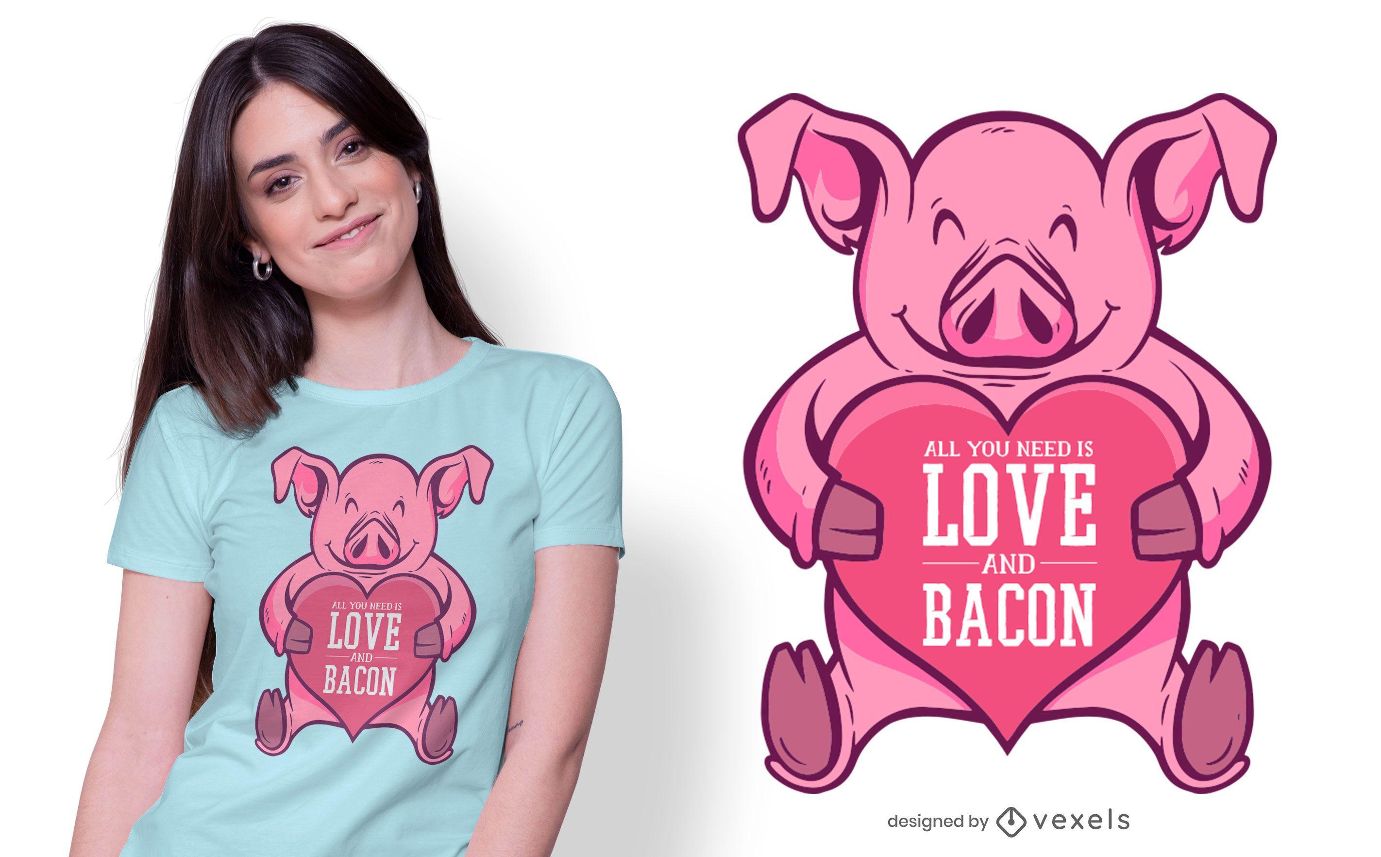 Diseño de camiseta de amor y tocino.