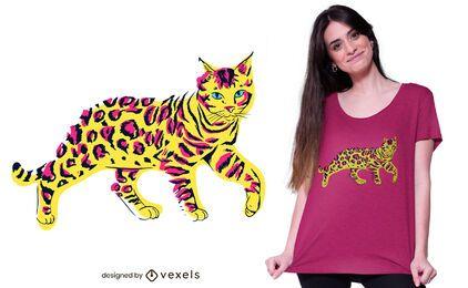 Diseño de camiseta de gato de bengala colorido