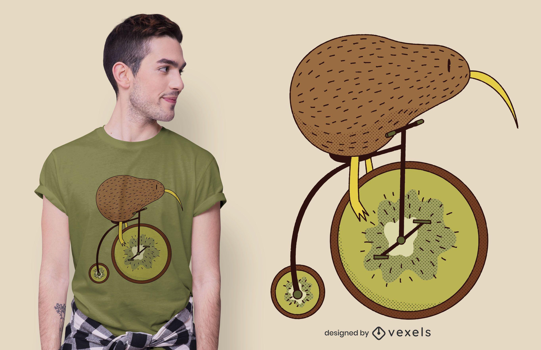 Diseño de camiseta de bicicleta kiwi.