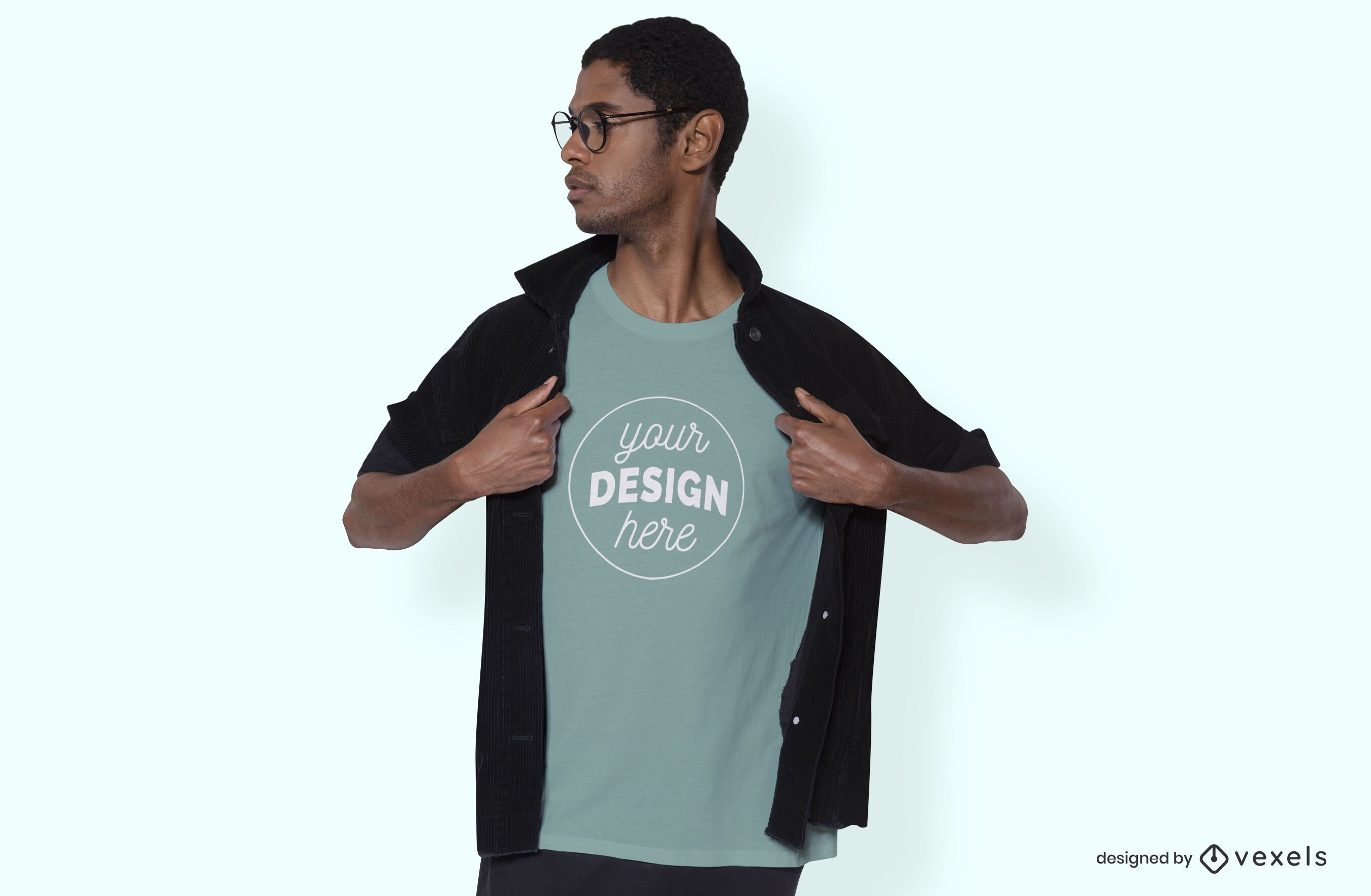 Man with jacket t-shirt mockup design