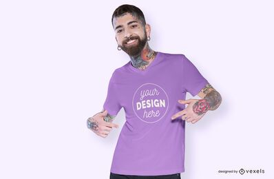 Model pointing t-shirt mockup design