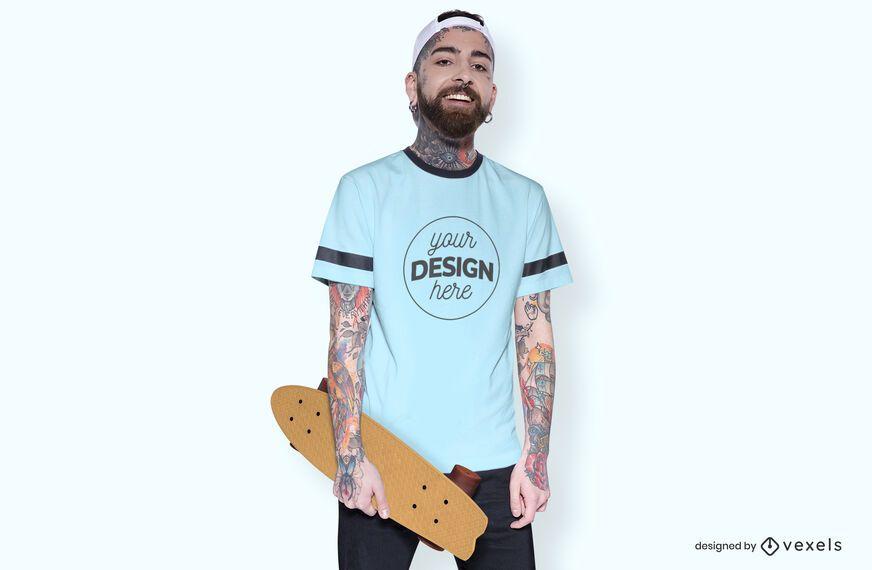 Maquete da camiseta do skatista