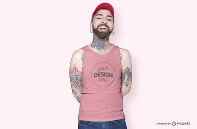 Male model hat t-shirt mockup