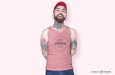 Maqueta de camiseta de sombrero modelo masculino