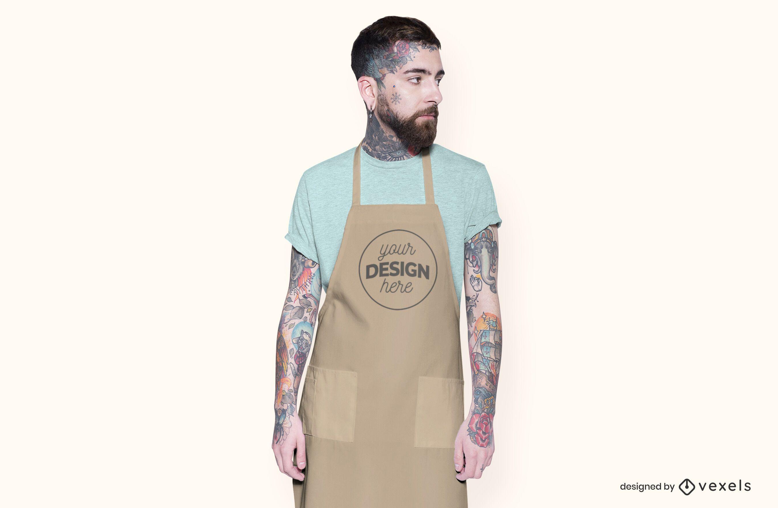 Male model apron mockup