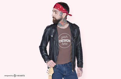 Diseño de maqueta de camiseta de músico
