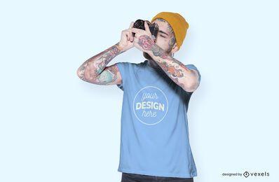 Male model camera t-shirt mockup design