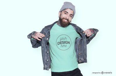 Homem com design de maquete de jaqueta e camiseta