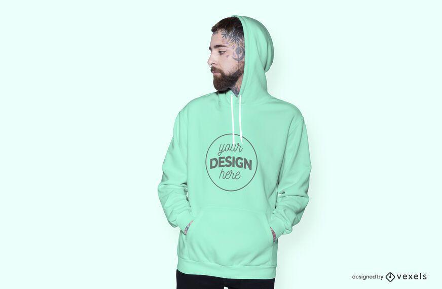 Male model hoodie mockup design