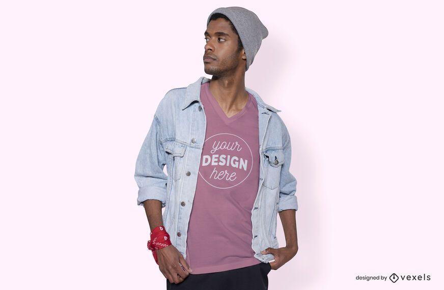 Maquete de camiseta masculina jaqueta jeans