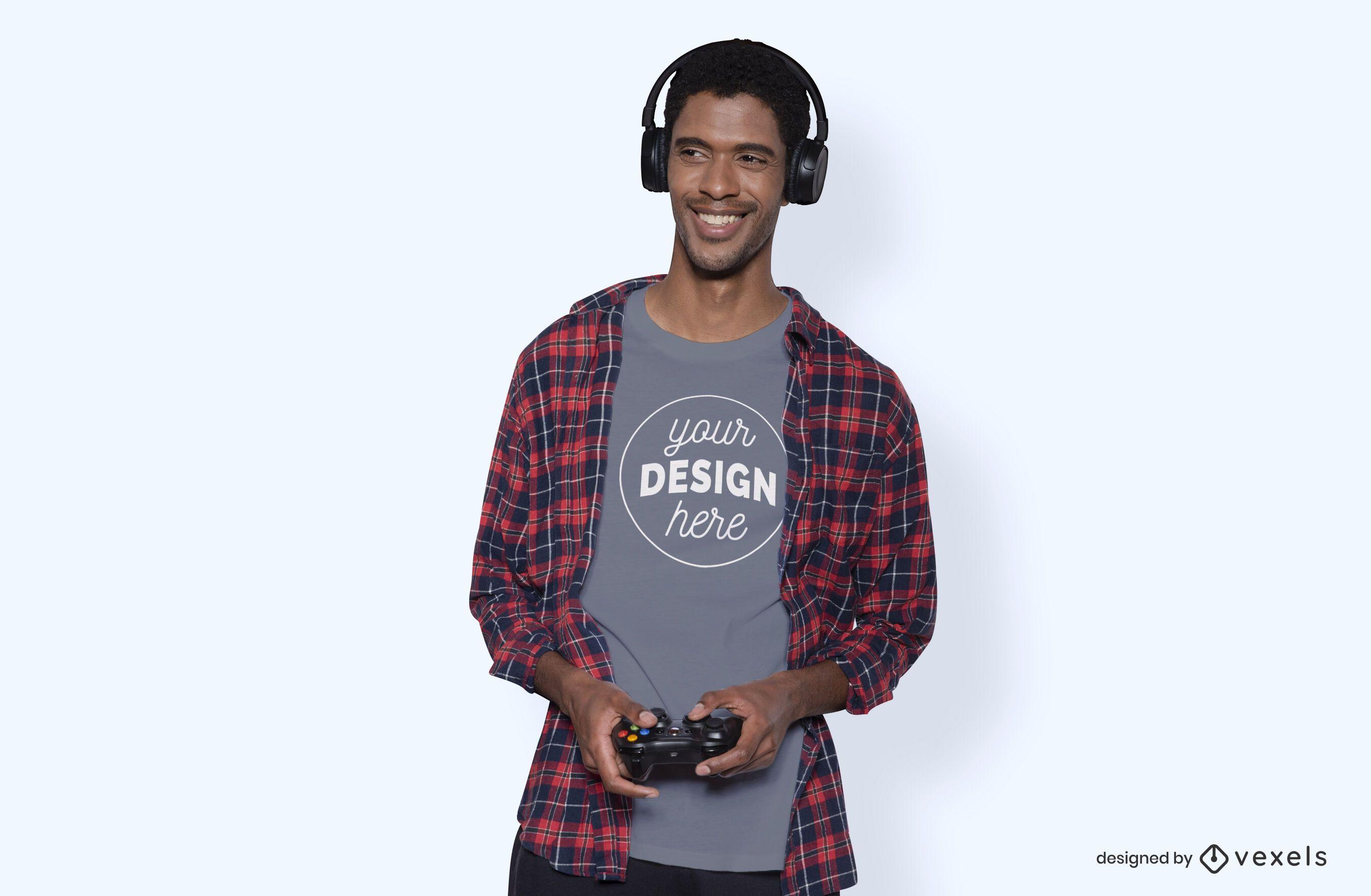 Gamer model t-shirt mockup