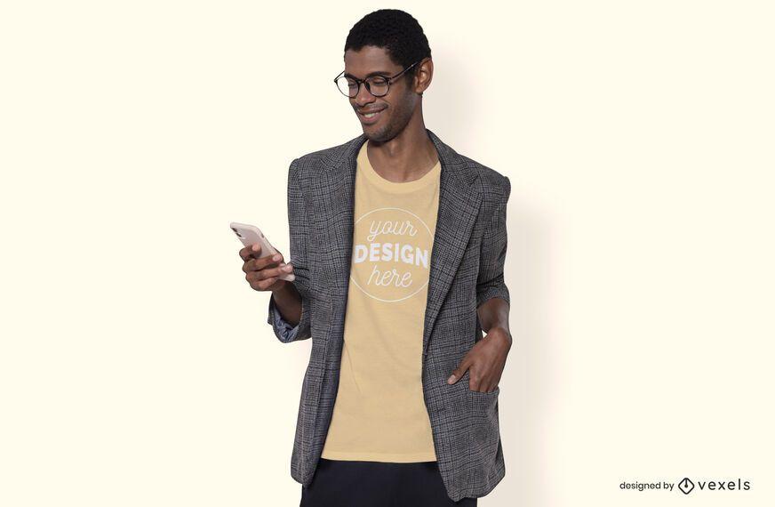 Man with blazer t-shirt mockup