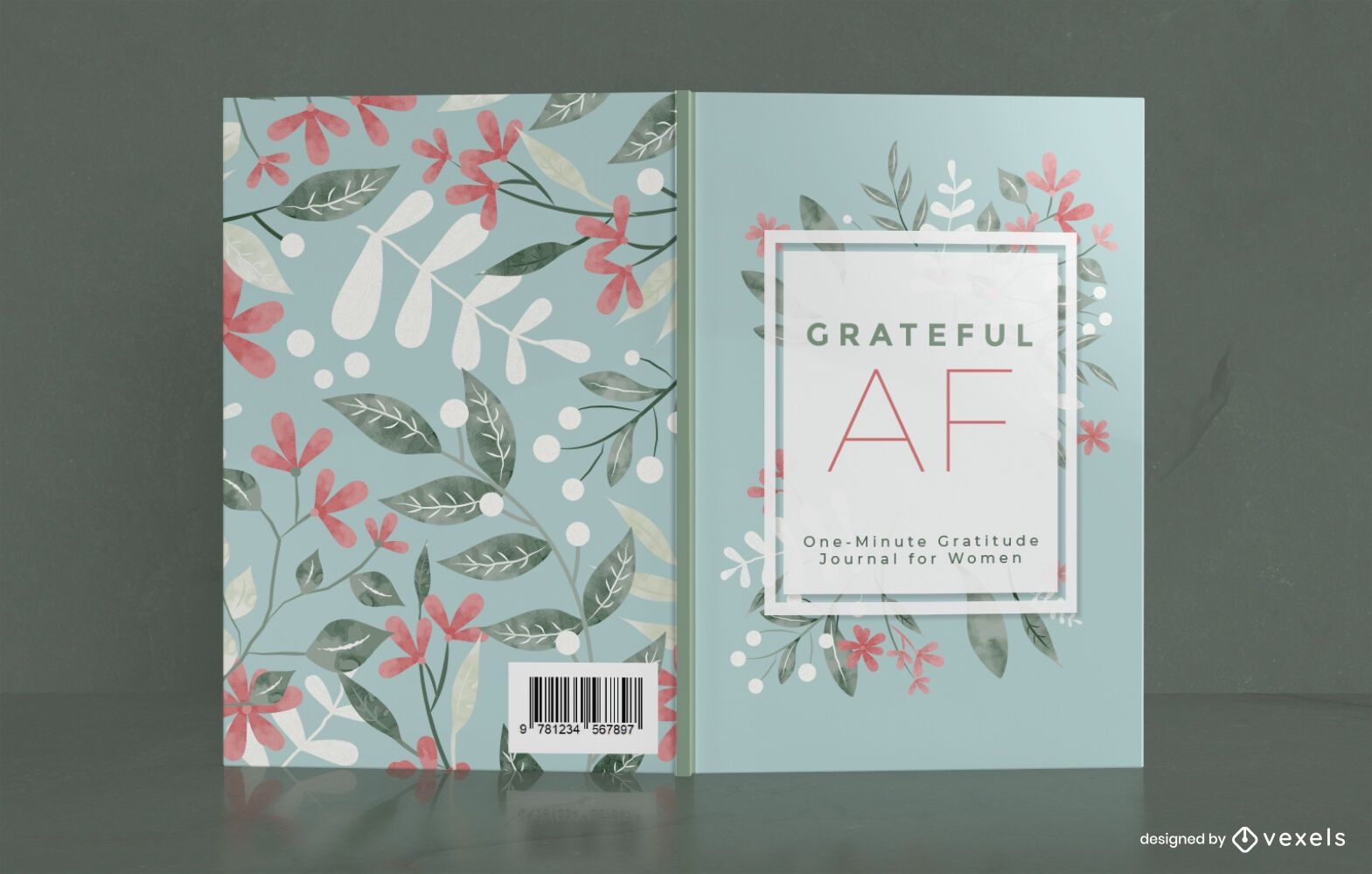 Blumen-Dankbarkeits-Tagebuch-Buchcover-Design