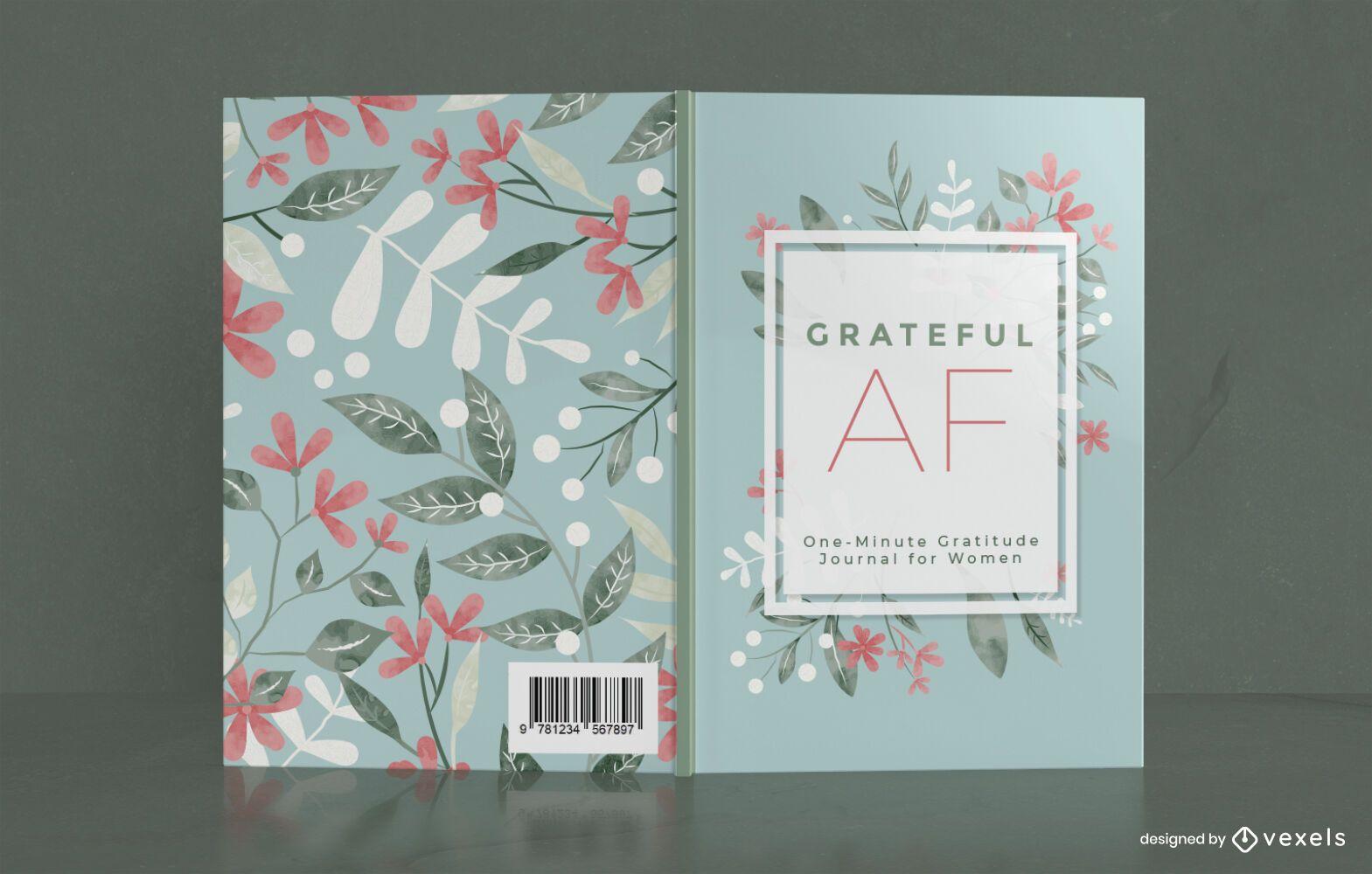 Diseño de portada de libro de diario de agradecimiento de flores