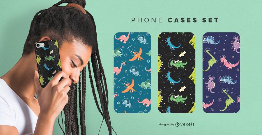 Space dinos phone case set