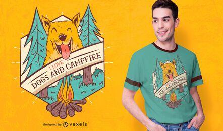 Diseño de camiseta de perros y fogata.